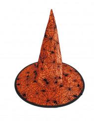 Oranje spinnenweb heksenhoed voor kinderen