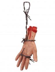 Afgehakte hand in prikkeldraad