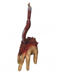 Bloederige hand aan haak decoratie