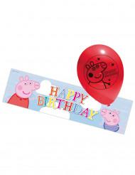 5 Latex Peppa Pig™ ballonnen en 1 banner