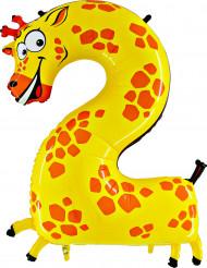 Enorme cijfer 2 giraffe ballon