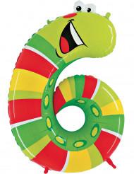 Enorme cijfer 6 worm ballon