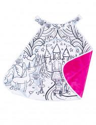 Roze inkleurbare prinsessenkasteel cape voor meisjes