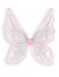 Roze vlinder vleugels met zilverkleurige glitters voor meisjes