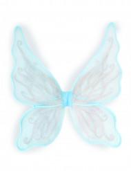 Blauwe vleugels met zilverkleurige glitters voor meisjes