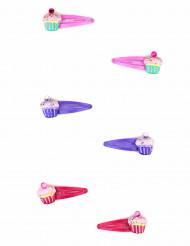 2 cupcake haarspelden voor meisjes