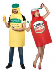 Ketchup en mayonnaise koppelkostuum voor volwassenen