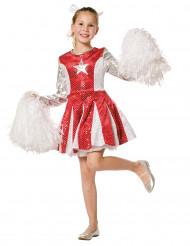 Rood en zilverkleurig cheerleader kostuum voor meisjes