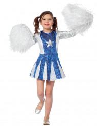 Blauw en zilverkleurig cheerleader kostuum voor meisjes