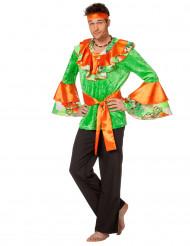 Oranje en groen rumba danseres kostuum voor vrouwen