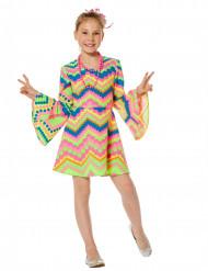 Roze en blauw fluo disco kostuum voor meisjes
