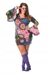 Veelkleurig hippie kostuum voor vrouwen