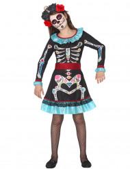 Dia de los Muertos kleurrijk skelet kostuum voor meisjes