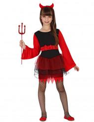 Zwart en rood duivel kostuum voor meisjes