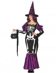 Paars skelet heksen kostuum voor vrouwen