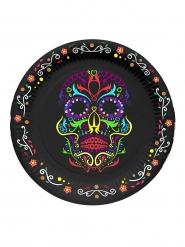 6 kleine zwarte Dia de los Muertos borden