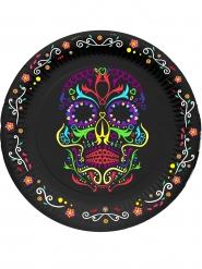 6 kleurrijke skelet Dia de los Muertos borden