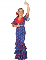 Blauw rood flamenco kostuum voor meisjes