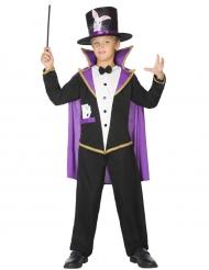 Paars en zwart goochelaar kostuum voor kinderen