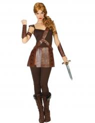 Bruin Romeinse gladiator kostuum voor vrouwen