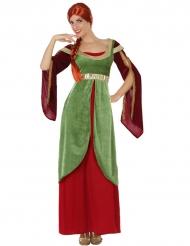 Groen-rood middeleeuws kostuum voor vrouwen