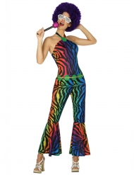Veelkleurige luipaard disco kostuum voor vrouwen