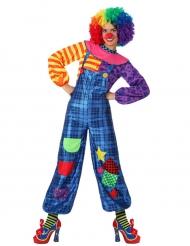 Blauw clownskostuum met lappen voor vrouwen