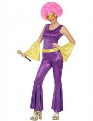 Goudkleurig en paars disco kostuum voor vrouwen