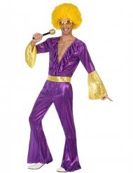 Paars en goudkleurig disco kostuum voor mannen