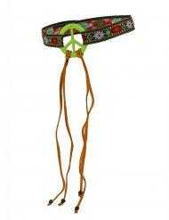 Groene hippie peace hoofdband voor volwassenen