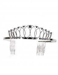 Deluxe zilverkleurige prinsessen tiara voor volwassenen