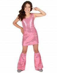 Roze disco kostuum met lovertjes voor meisjes