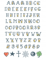 Alfabet neptatoeages voor volwassenen