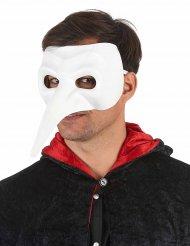 Deluxe masker met lange witte neus voor volwassenen