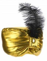 Goudkleurige sultan muts met veer voor volwassenen