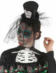 Mini hoed Dia de los Muertos voor volwassenen