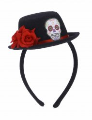 Mini hoedje Dia de los Muertos voor volwassenen