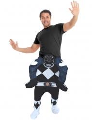 Zwarte Power Rangers™ Morphsuits™ Carry Me kostuum voor volwassenen