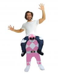 Roze Power Rangers™ Morphsuits™ carry me kostuum voor volwassenen