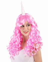 Roze eenhoorn pruik voor volwassenen