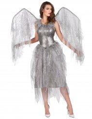 Zilverkleurige barok engel kostuum voor vrouwen