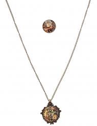 Steampunk halsketting en ring voor volwassenen