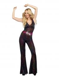 Luxe veelkleurig disco kostuum voor vrouwen