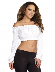 Korte witte top met lange mouwen voor vrouwen