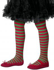 Groen en rood gestreepte panty voor kinderen