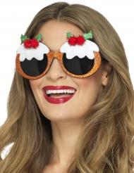 Kerst Pudding bril voor volwassenen