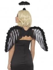 Zwarte engel set met vleugels en halo voor volwassenen