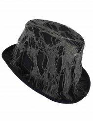 Zwarte spinnenweb hoge hoed voor volwassenen