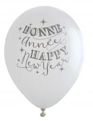8 witte Bonne Année ballonnen