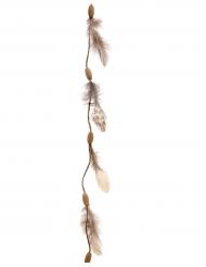 Bruine veren en kralen slinger